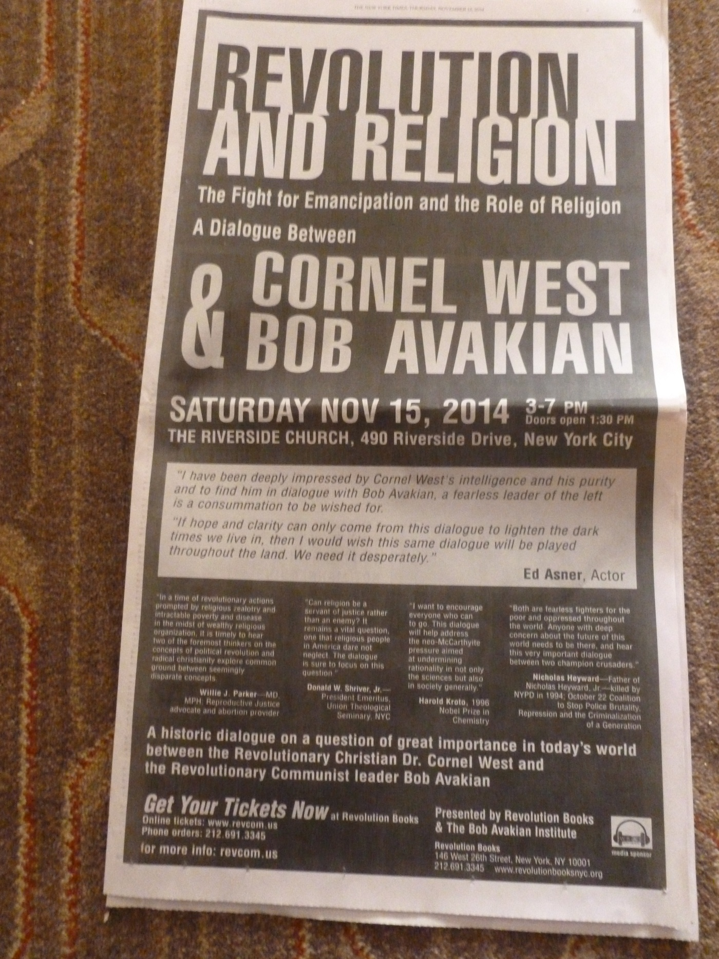 Full page ad in today's NY Times for Bob Avakian-Cornel West