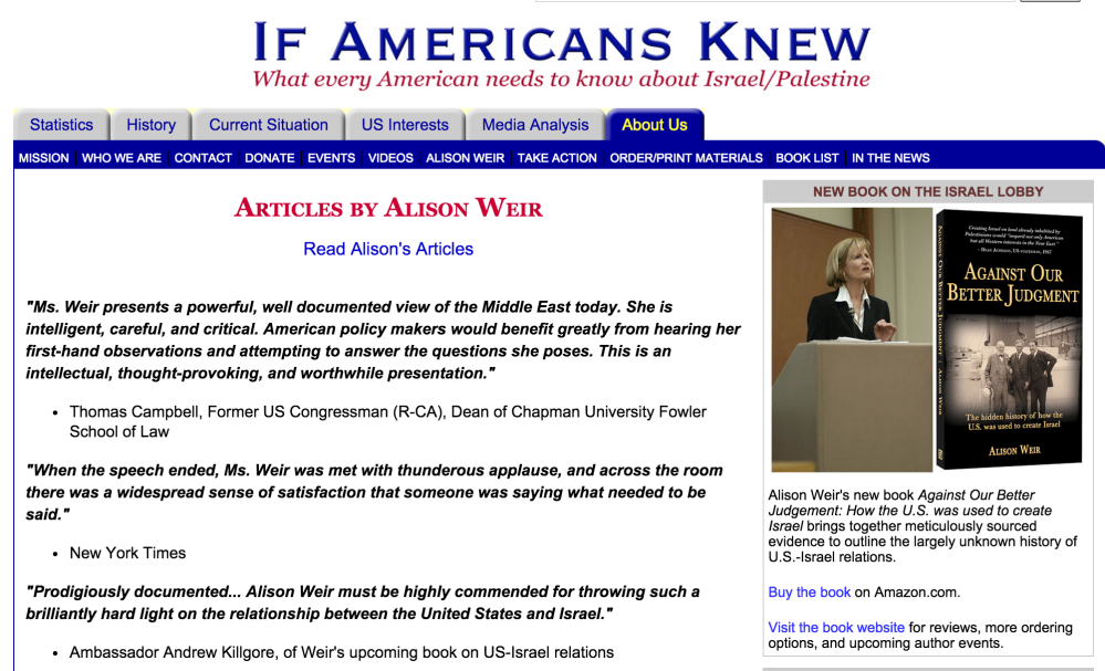 The Jewish Voice for Peace Attack on Alison Weir: JVP Loses Its Balance